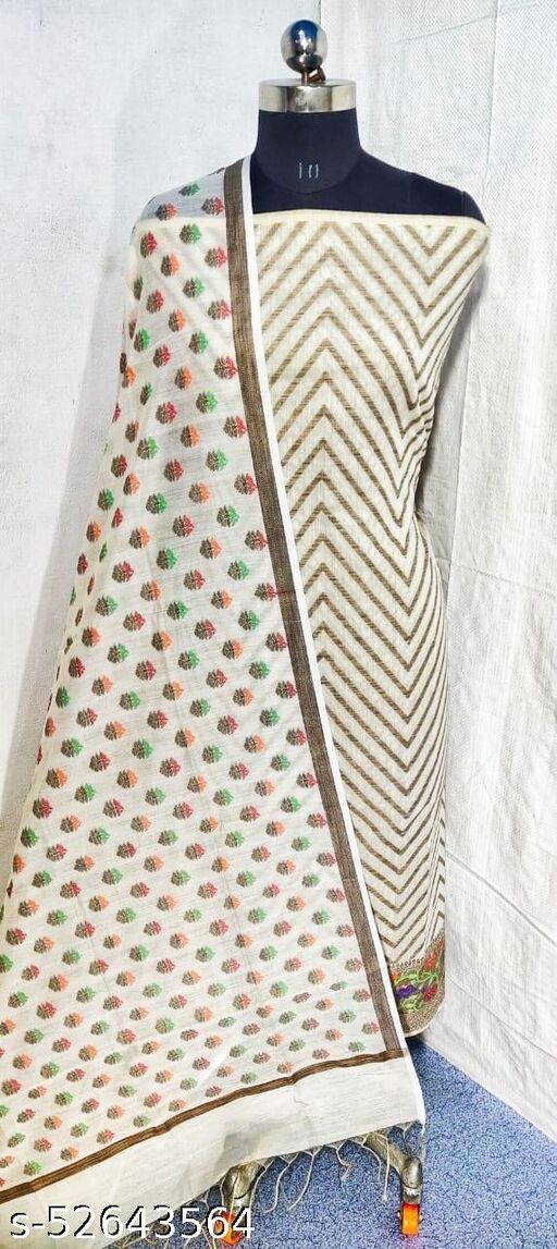 (S21White) Weddings Special Banarsi Handloom Cotton Suit And Dress Material