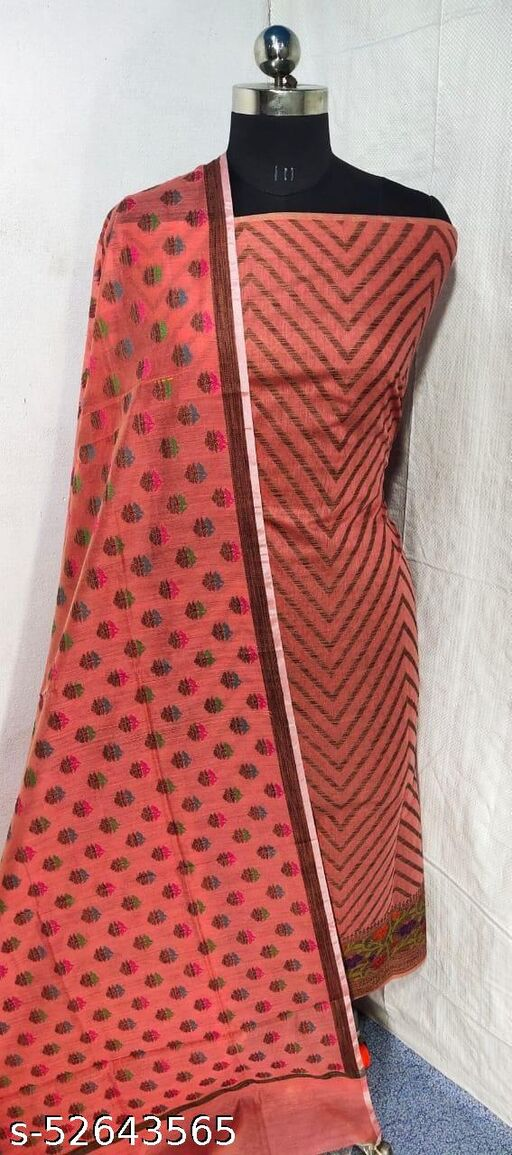 (S21Peach) Weddings Special Banarsi Handloom Cotton Suit And Dress Material