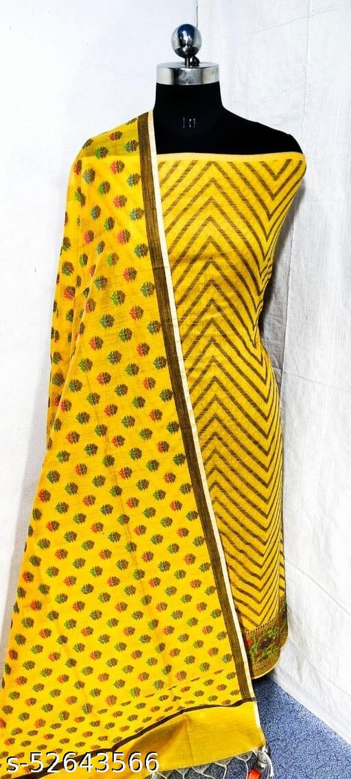 (S21Yellow) Weddings Special Banarsi Handloom Cotton Suit And Dress Material