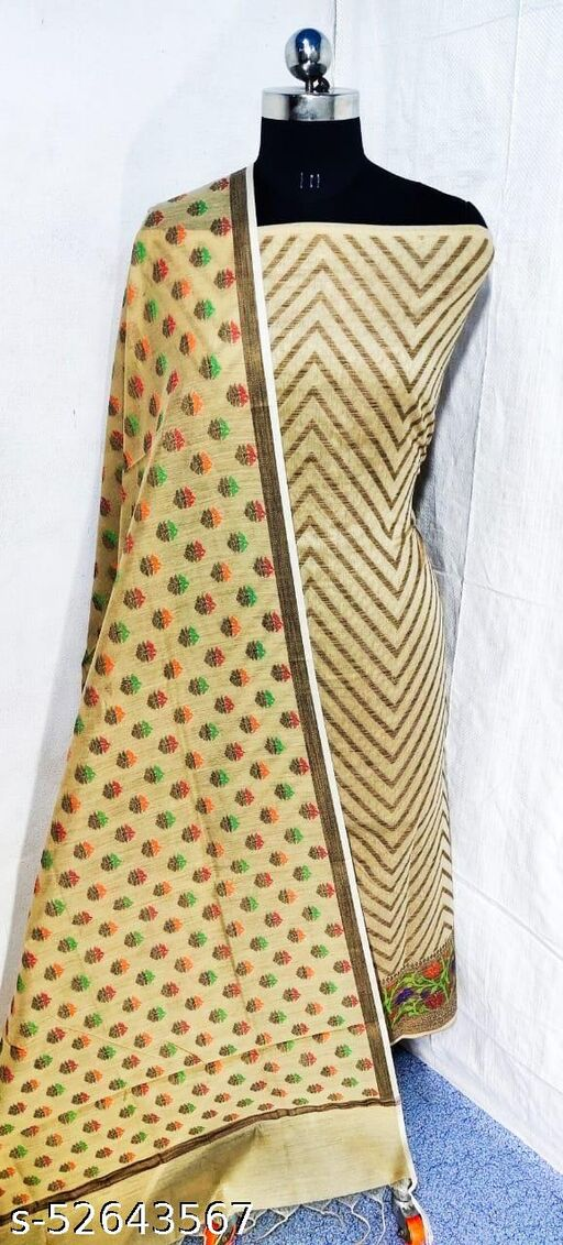 (S21Nude) Weddings Special Banarsi Handloom Cotton Suit And Dress Material