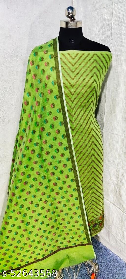 (S21Mint Green) Weddings Special Banarsi Handloom Cotton Suit And Dress Material