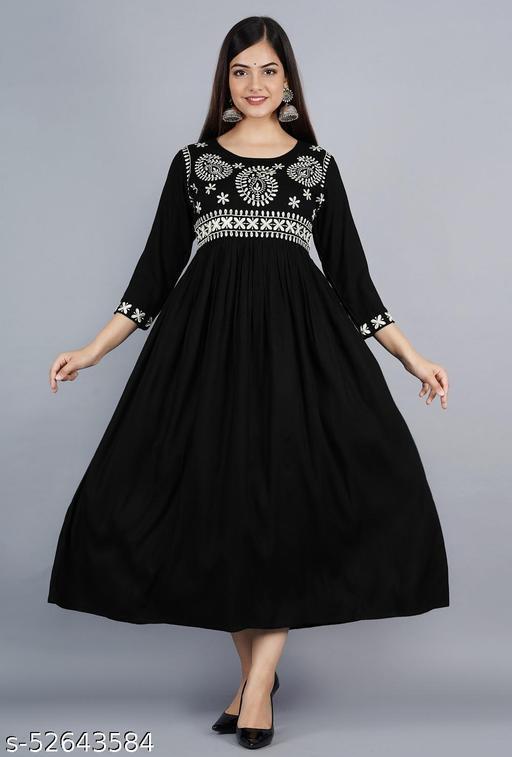 womens rayon embroidey Partywear long kurti