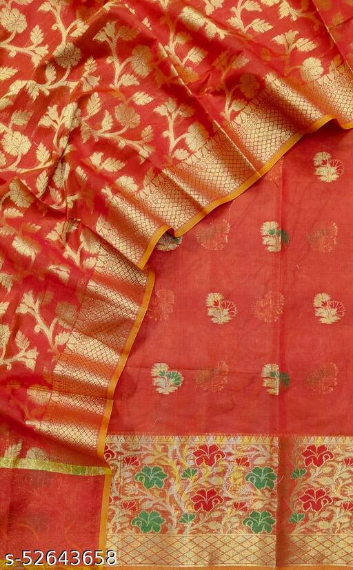 (S35Red) Weddings Special Banarsi Handloom Cotton Suit And Dress Material