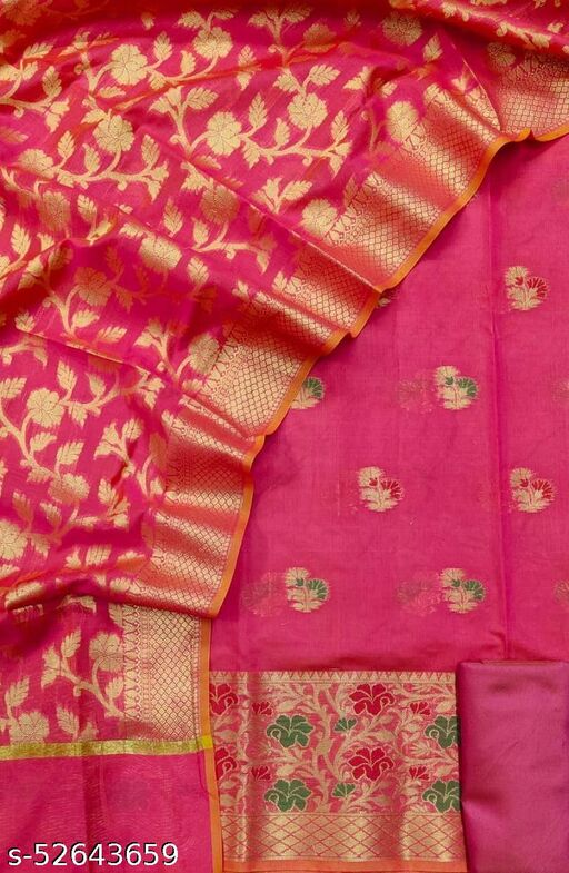 (S35Pink) Weddings Special Banarsi Handloom Cotton Suit And Dress Material