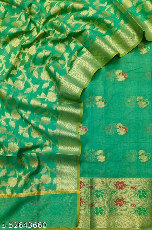 (S35Mint Green) Weddings Special Banarsi Handloom Cotton Suit And Dress Material