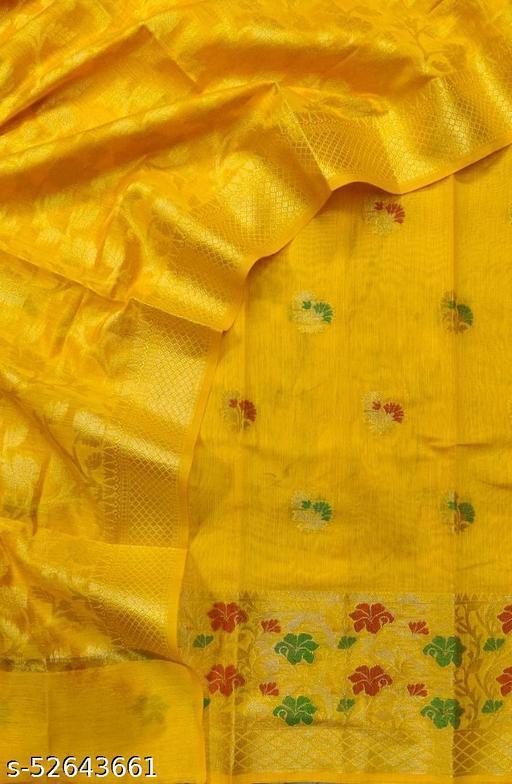 (S35Mustard) Weddings Special Banarsi Handloom Cotton Suit And Dress Material