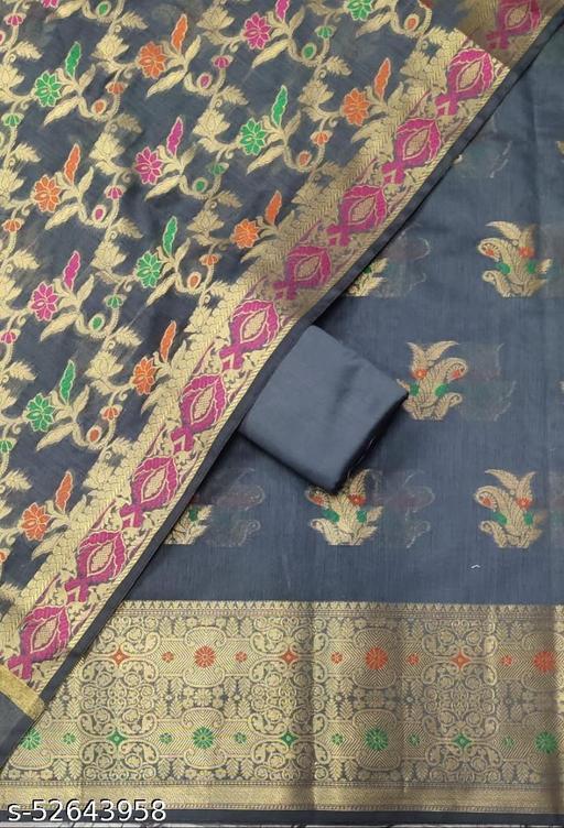 (S29Grey) Weddings Special Banarsi Handloom Cotton Suit And Dress Material