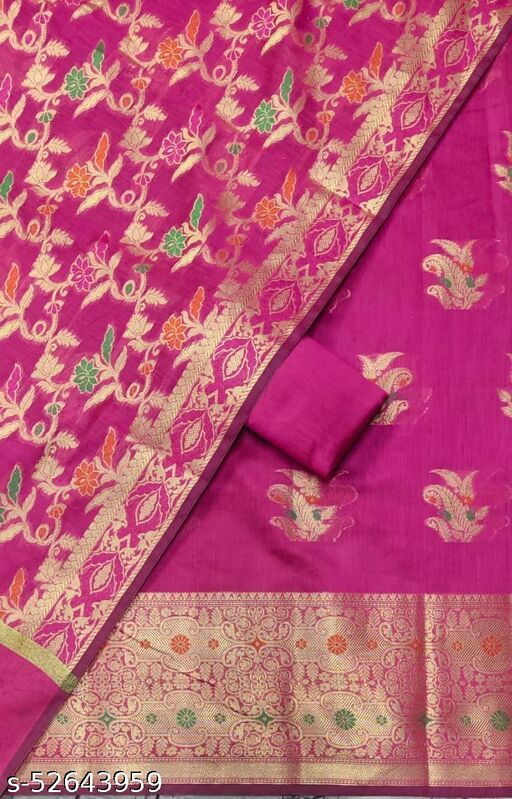 (S29Pink) Weddings Special Banarsi Handloom Cotton Suit And Dress Material
