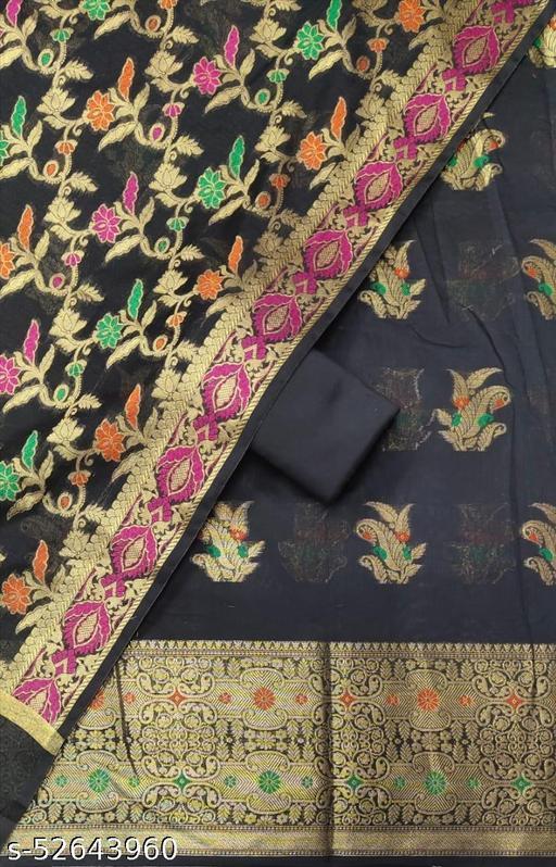 (S29Black) Weddings Special Banarsi Handloom Cotton Suit And Dress Material
