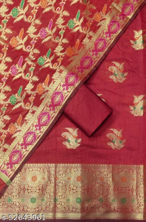 (S29Red) Weddings Special Banarsi Handloom Cotton Suit And Dress Material
