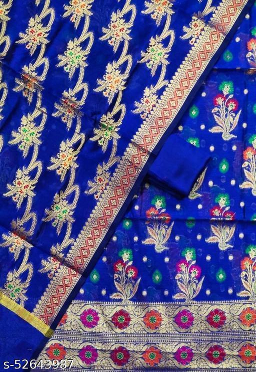 (S31Blue) Weddings Special Banarsi Handloom Cotton Alfi Suit And Dress Material