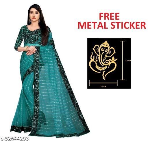Free Ganesh Sticker Gift With Beautiful  3 MM  Sequence Work With 5 MM Hanging Sequence Lace Border Women's  Sarees