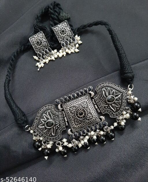 Anshulstore Exclusive German Silver Oxidized Fashion Peacock Choker Stone Pearl Necklace with Earrings Jewellery Set.