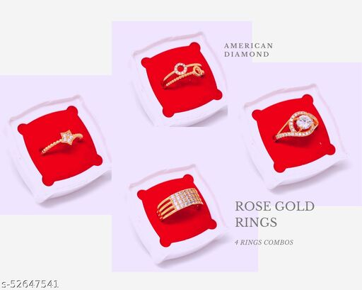 Combo of 4 AD/CZ Guarantee Polish Rose Gold Ring Adjustable