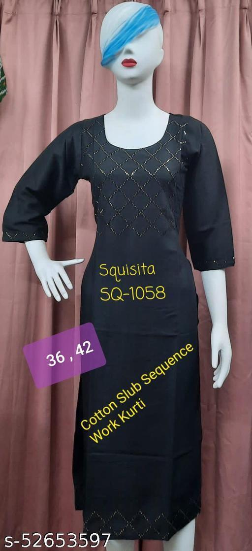 Squsita 1058 Slub Cotton Sequence work Kurti