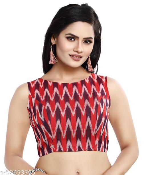 MADHU FASHION Cotton Ikat Print Sleeveless Readymade Saree Blouse