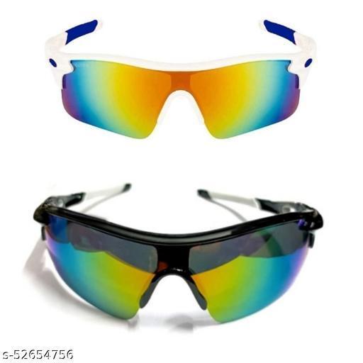 TENFORD Cricket Goggles Mirrird UV400 Lenses Men Sports for Cricket (White - Blue & Black - White) Sports Goggles Combo