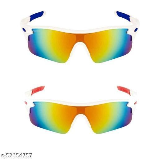 TENFORD Cricket Goggles Mirrird UV400 Lenses Men Sports for Cricket (White - Blue & White -Red) Sports Goggles Combo