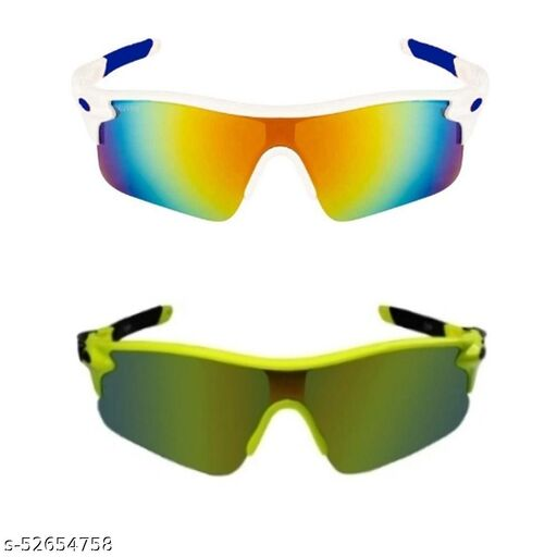 TENFORD Cricket Goggles Mirrird UV400 Lenses Men Sports for Cricket (White - Blue & Yellow -Black) Sports Goggles Combo