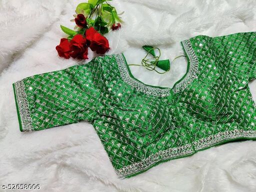 Readymade Blouse Silver Jari Embroidery Work