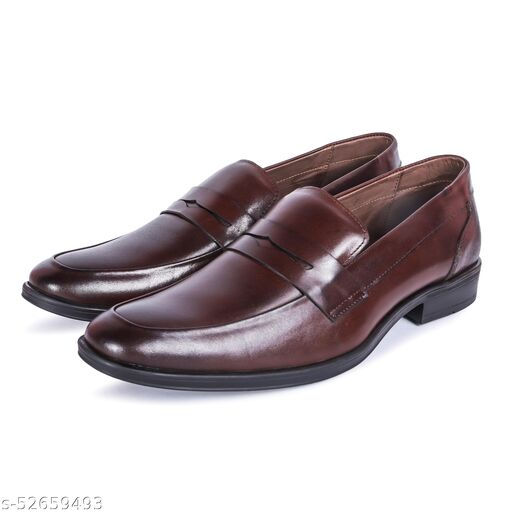 Varito Genuine Leather Brown Slip On Formal Shoes