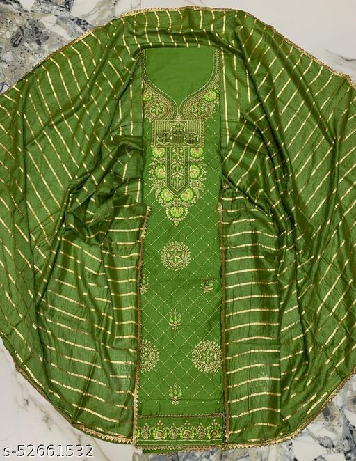 (1Green) Fashionable Partywear Cotton Embroidery Suit And Dress Material