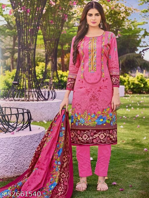 Fashionable Partywear Cotton Printed Suit And Dress Material