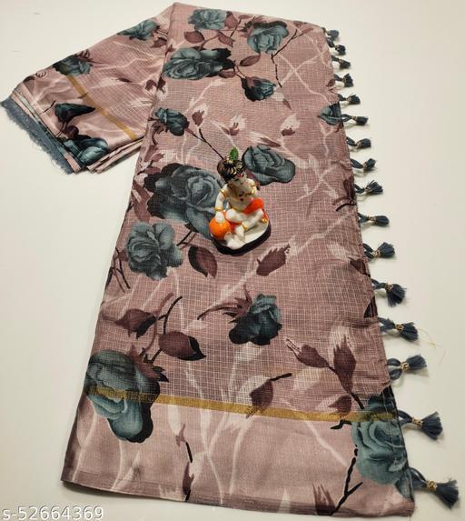 Mitra Digital Print Kota Doria Cotton Saree With Blouse(RosyBrown)