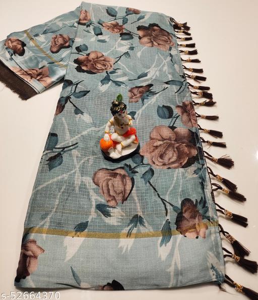 Mitra Digital Print Kota Doria Cotton Saree With Blouse(Grey)