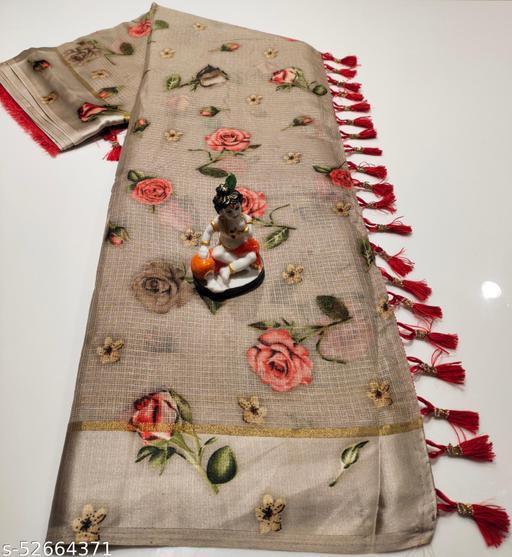Mitra Digital Print Kota Doria Cotton Saree With Blouse(Rust)