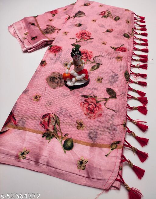 Mitra Digital Print Kota Doria Cotton Saree With Blouse(BabyPink)