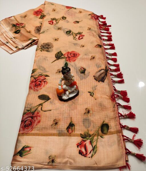 Mitra Digital Print Kota Doria Cotton Saree With Blouse(Mauve)