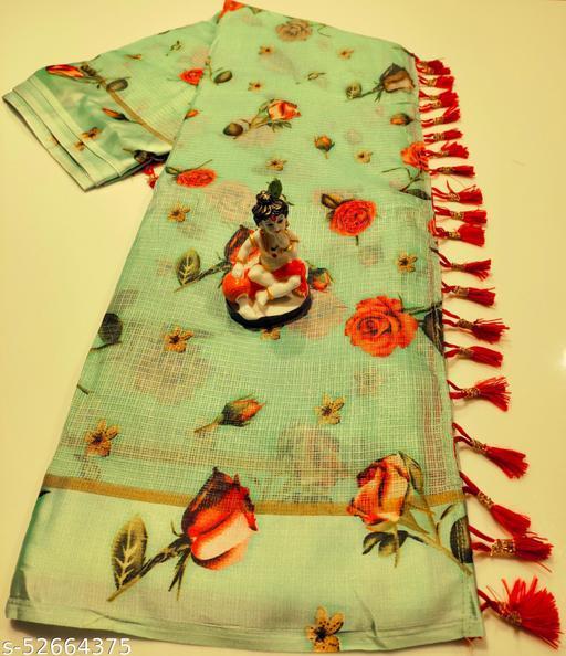 Mitra Digital Print Kota Doria Cotton Saree With Blouse(Pista)