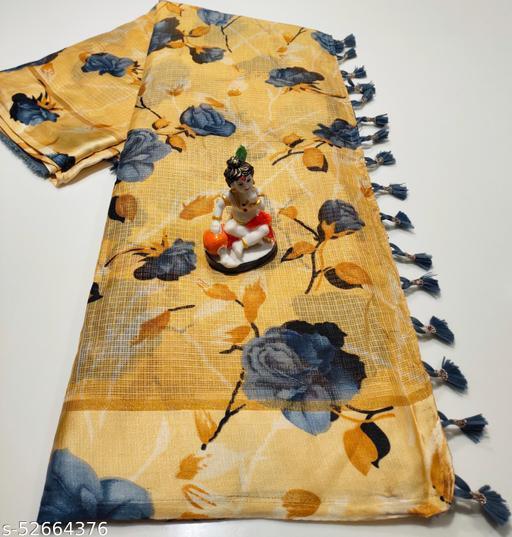 Mitra Digital Print Kota Doria Cotton Saree With Blouse(Gold)