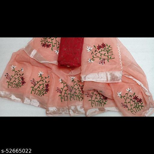 Azeeme Kota doria Embroidery  saree in Zari border with separate printed blouse piece