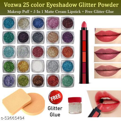 Vozwa 25 Color Eyeshadow Glitter Powder + 5 in 1 Matte Cream Lipstick + Makeup Puff Free Glitter Glue