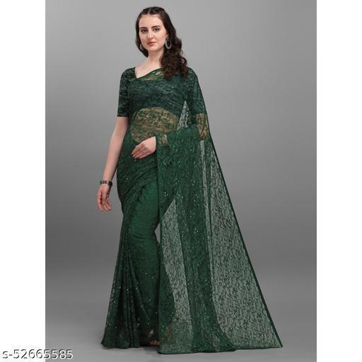 Partywear Raschel Soft Net Saree Fpr Women's
