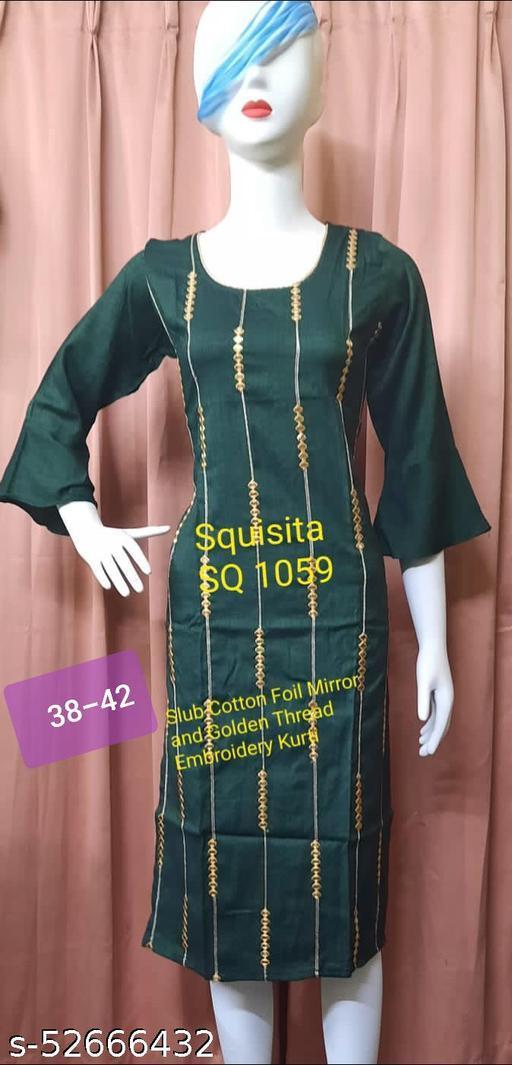 Squsita 1059 Slub Cotton Foil Mirror and Golden Thread embroidered Kurti
