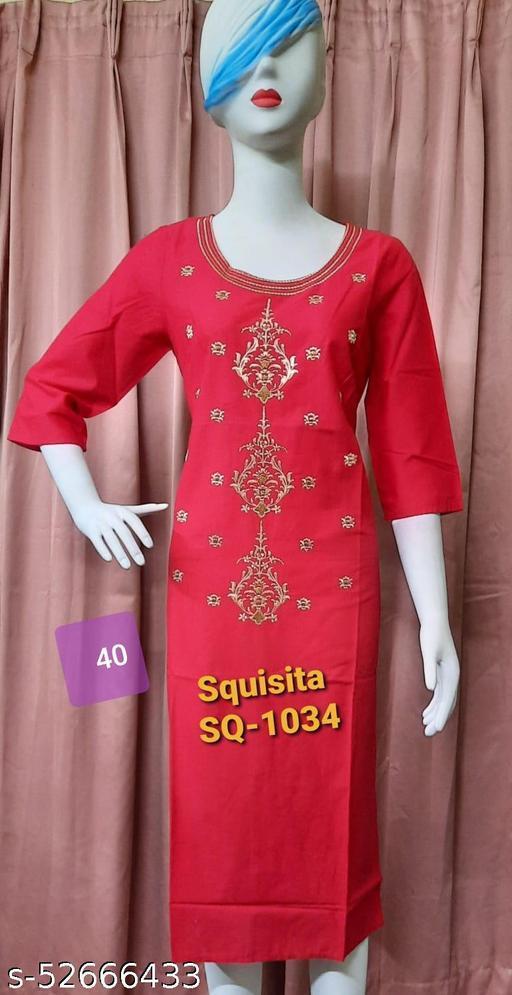 Squsita 1034 Soft Cotton embroidered Kurti