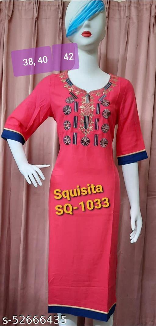 Squsita 1033 Cotton Embroidered Kurti