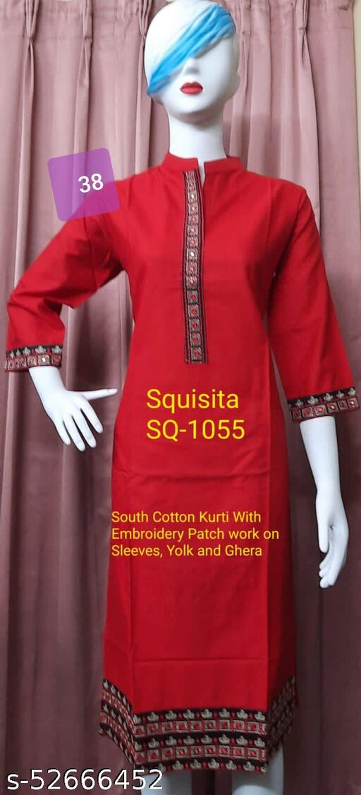 Squsita 1055 Slub Cotton Kurti with Heavy Embrodery on Sleeves , yolk and Ghera