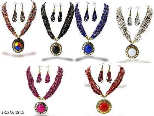 Stylish Women's and Girl's 9 Pcs Set Combo Beads Brass Necklace