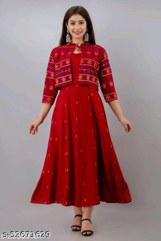 Alysha Printed Rayon Long Kurta with Jacket