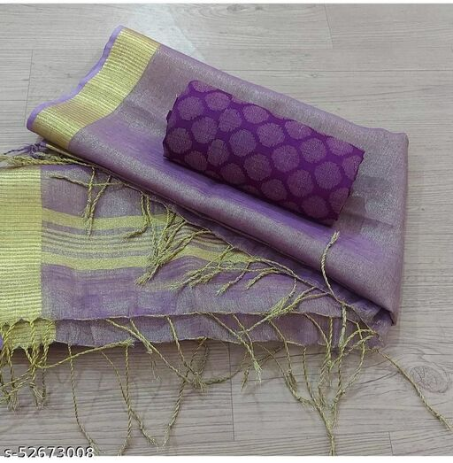 tissue linen dupatta and soft silk weaving work designer top and good quality