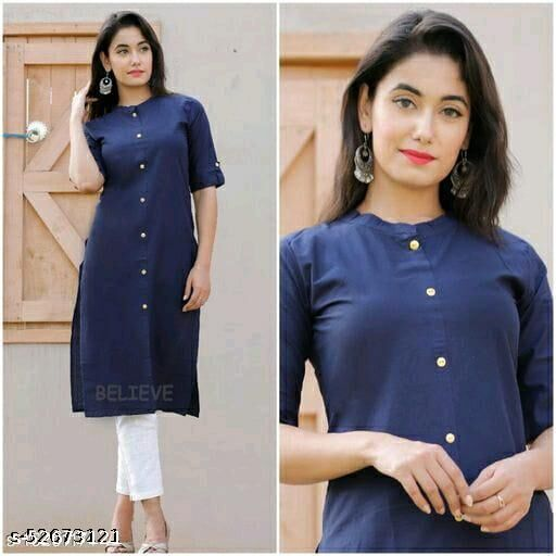 Women Cotton A-line Solid Yellow Superior Kurti with pocket