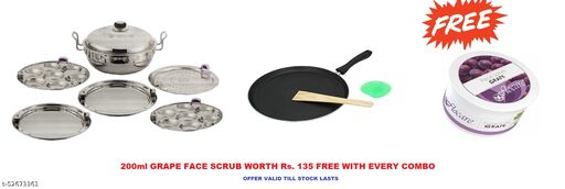 Combo of 3in1 Box Packing (Idli, Dhokla,Patra)Stainless Steel Kadhai & Dosa Tawa With Free Face Scrub