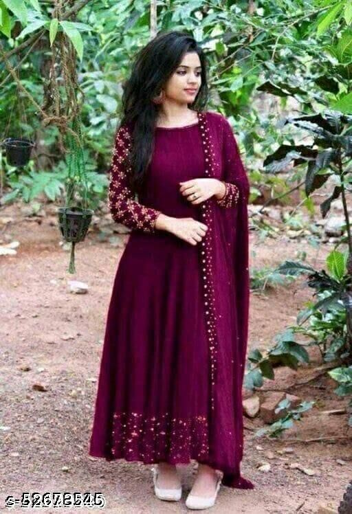 Party wear Embroidery work gown with Lock Moti Dupatta