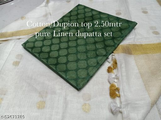 linen dupatta and soft silk weaving designer top