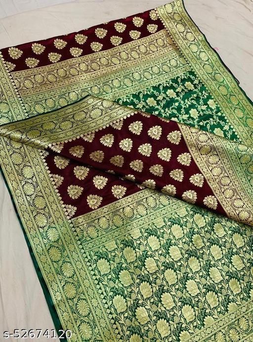 (R3Maroon) Fabulous Banarsi Partly Silk Saree Specially For Weddings