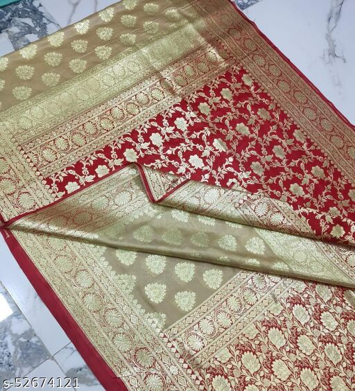 (R3Cream) Fabulous Banarsi Partly Silk Saree Specially For Weddings
